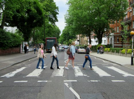 Crossing Abby Road with friends in London