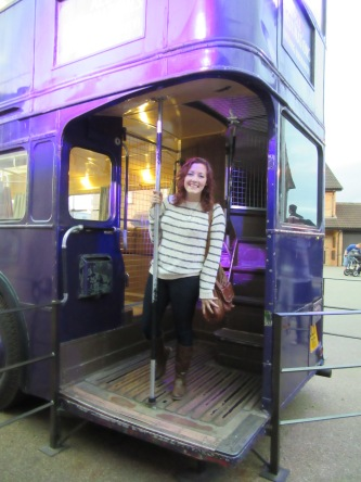 The triple-decker Knight Bus from Harry Potter at the Leavesden Studios