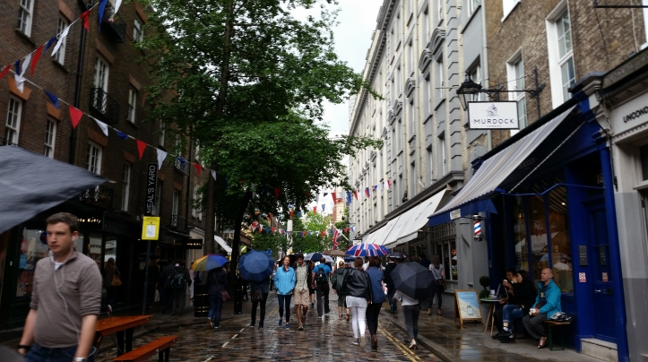 Seven Dials in London decorated for the Jubilee