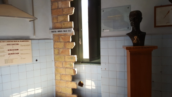 This kitchen was bricked up and became a prison cell in the SS headquarters during WWII.